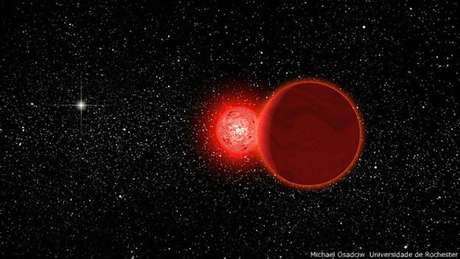 Uma representação artística da estrela Scholz, que atualmente está a 20 anos-luz de distância  Foto: BBCBrasil.com