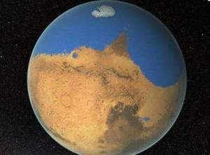 Marte tinha ao menos metade do hemisfério norte coberto de água, com um oceano que chegava a mais de 1,5 quilômetros de profundidade  Foto: The Independent / Reprodução